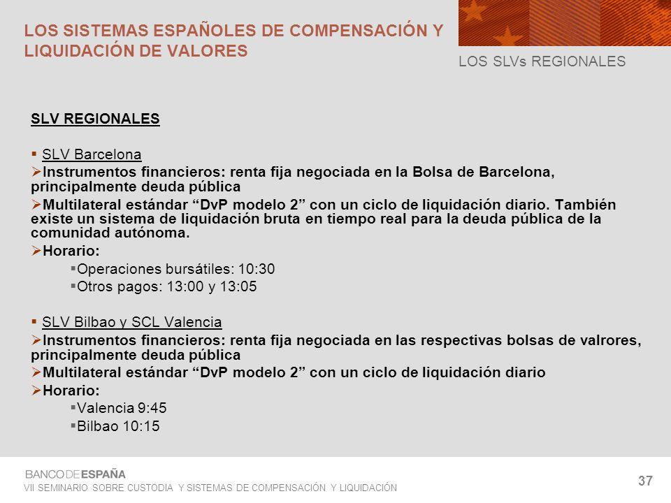 VII SEMINARIO SOBRE CUSTODIA Y SISTEMAS DE COMPENSACIÓN Y LIQUIDACIÓN 37 SLV REGIONALES SLV Barcelona Instrumentos financieros: renta fija negociada e