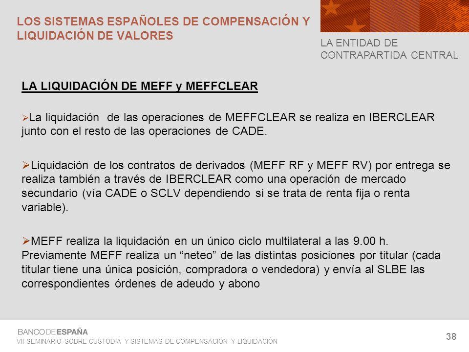 VII SEMINARIO SOBRE CUSTODIA Y SISTEMAS DE COMPENSACIÓN Y LIQUIDACIÓN 38 LA LIQUIDACIÓN DE MEFF y MEFFCLEAR La liquidación de las operaciones de MEFFC