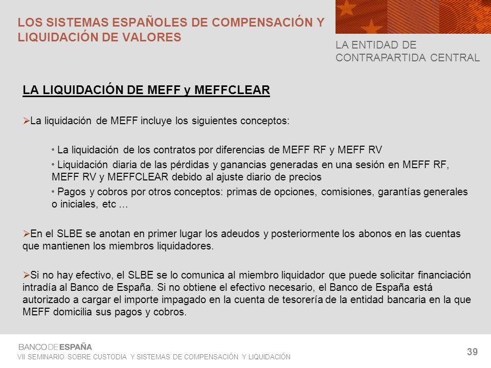 VII SEMINARIO SOBRE CUSTODIA Y SISTEMAS DE COMPENSACIÓN Y LIQUIDACIÓN 39 LA LIQUIDACIÓN DE MEFF y MEFFCLEAR La liquidación de MEFF incluye los siguien