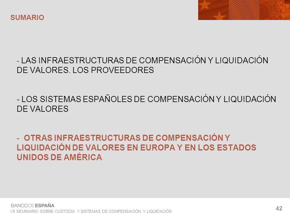 VII SEMINARIO SOBRE CUSTODIA Y SISTEMAS DE COMPENSACIÓN Y LIQUIDACIÓN 42 - LAS INFRAESTRUCTURAS DE COMPENSACIÓN Y LIQUIDACIÓN DE VALORES. LOS PROVEEDO