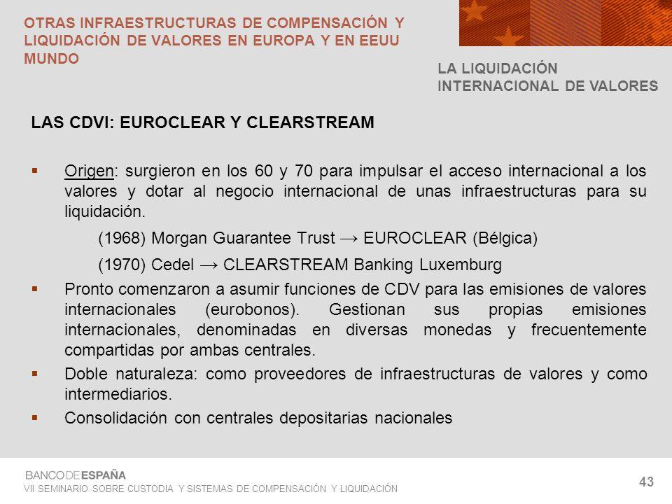 VII SEMINARIO SOBRE CUSTODIA Y SISTEMAS DE COMPENSACIÓN Y LIQUIDACIÓN 43 LAS CDVI: EUROCLEAR Y CLEARSTREAM Origen: surgieron en los 60 y 70 para impul