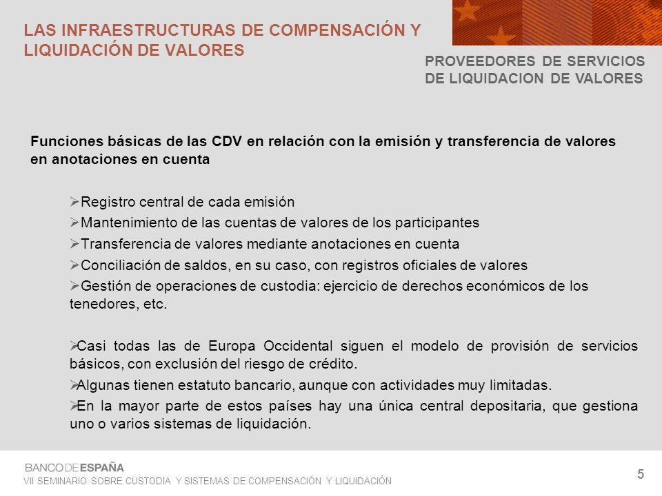 VII SEMINARIO SOBRE CUSTODIA Y SISTEMAS DE COMPENSACIÓN Y LIQUIDACIÓN 16 Liquidación bruta en tiempo real (de 7 a.m a 4 p.m) VALORES SON LIBERADOS COMIENZO SLBE CADE PROCESAMIENTO DE LA LIQUIDACIÓN DEL EFECTIVO LIQUIDACIÓN COMPLETADA RESULTADO NEGATIVO COMIENZO OPERACIÓN CON VALORES BLOQUEO PROVISIONAL DE LOS VALORES REQUERIMIENTO LIQUIDACIÓN DEL EFECTIVO FINALIZACIÓN DE LA OPERACIÓN Mandato de pago (adeudos/abonos) Liquidación completada con éxito Operación rechazada En caso de que no haya suficiente efectivo LOS SISTEMAS ESPAÑOLES DE COMPENSACIÓN Y LIQUIDACIÓN DE VALORES PLATAFORMA CADE