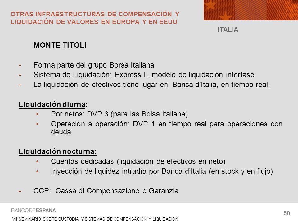 VII SEMINARIO SOBRE CUSTODIA Y SISTEMAS DE COMPENSACIÓN Y LIQUIDACIÓN 50 MONTE TITOLI -Forma parte del grupo Borsa Italiana -Sistema de Liquidación: E