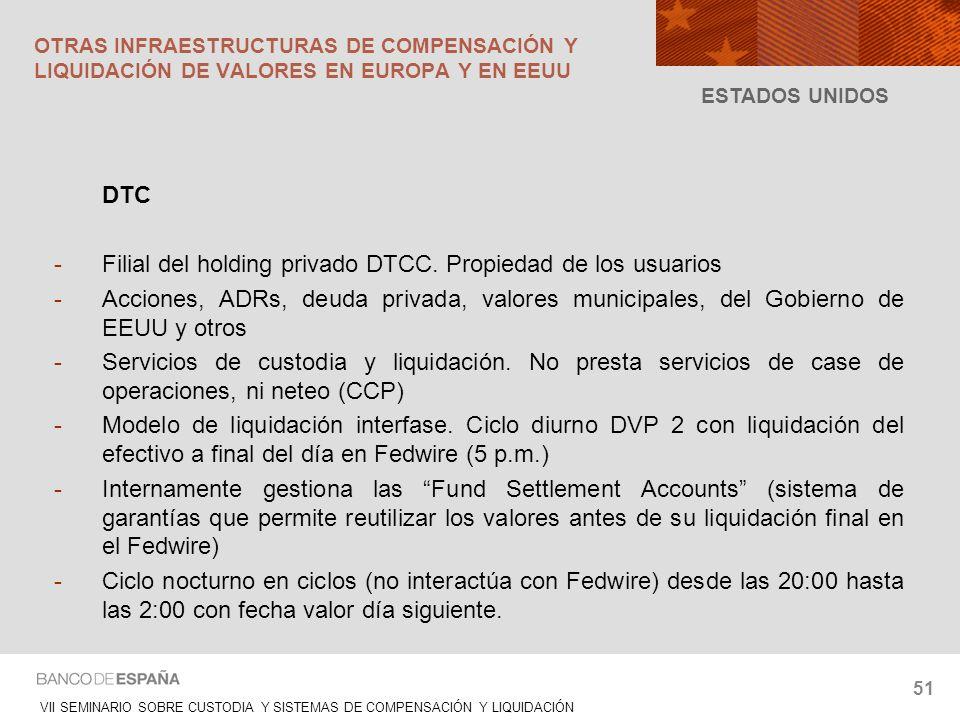 VII SEMINARIO SOBRE CUSTODIA Y SISTEMAS DE COMPENSACIÓN Y LIQUIDACIÓN 51 DTC -Filial del holding privado DTCC. Propiedad de los usuarios -Acciones, AD
