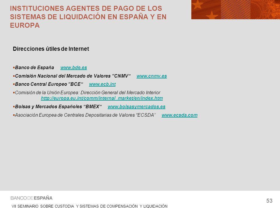 VII SEMINARIO SOBRE CUSTODIA Y SISTEMAS DE COMPENSACIÓN Y LIQUIDACIÓN 53 Direcciones útiles de Internet Banco de España www.bde.eswww.bde.es Comisión