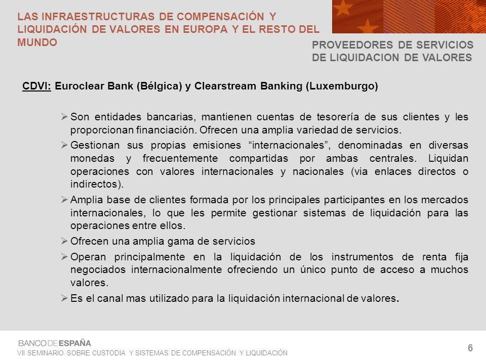 VII SEMINARIO SOBRE CUSTODIA Y SISTEMAS DE COMPENSACIÓN Y LIQUIDACIÓN 7 LAS INFRAESTRUCTURAS DE COMPENSACIÓN Y LIQUIDACIÓN DE VALORES Centrales depositarias de valores: caracteres Naturaleza jurídica: Bancos, entidades comerciales privadas, departamentos de una bolsa, insertadas en los bancos centrales Estructura de gobierno: Reciente proceso de desmutualización.