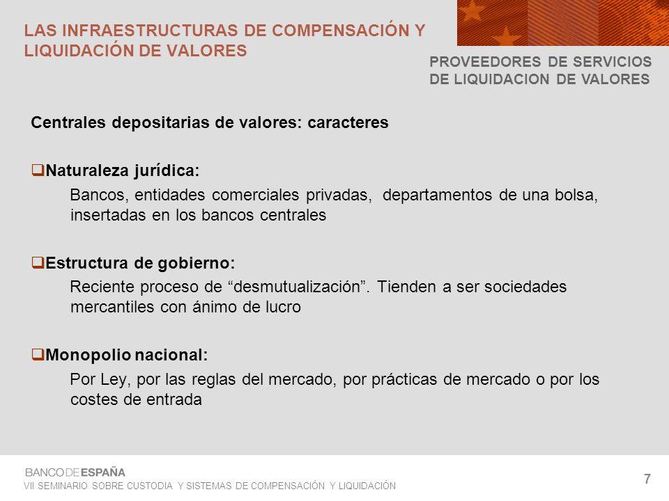 VII SEMINARIO SOBRE CUSTODIA Y SISTEMAS DE COMPENSACIÓN Y LIQUIDACIÓN 7 LAS INFRAESTRUCTURAS DE COMPENSACIÓN Y LIQUIDACIÓN DE VALORES Centrales deposi