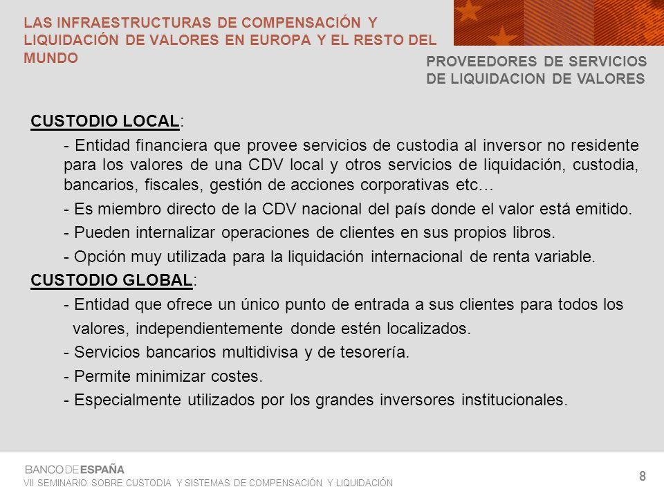 VII SEMINARIO SOBRE CUSTODIA Y SISTEMAS DE COMPENSACIÓN Y LIQUIDACIÓN 8 CUSTODIO LOCAL: - Entidad financiera que provee servicios de custodia al inver