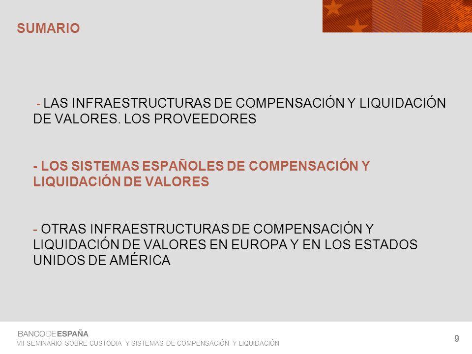 VII SEMINARIO SOBRE CUSTODIA Y SISTEMAS DE COMPENSACIÓN Y LIQUIDACIÓN 9 - LAS INFRAESTRUCTURAS DE COMPENSACIÓN Y LIQUIDACIÓN DE VALORES. LOS PROVEEDOR