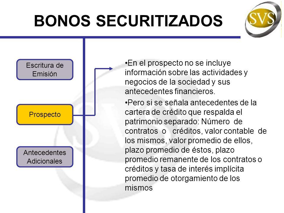 Prospecto BONOS SECURITIZADOS Antecedentes Adicionales Escritura de Emisión En el prospecto no se incluye información sobre las actividades y negocios de la sociedad y sus antecedentes financieros.