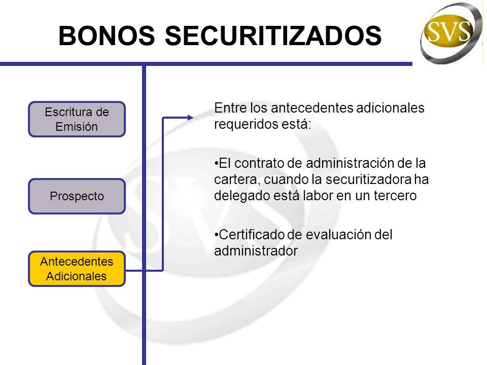 Prospecto BONOS SECURITIZADOS Antecedentes Adicionales Escritura de Emisión Entre los antecedentes adicionales requeridos está: El contrato de administración de la cartera, cuando la securitizadora ha delegado está labor en un tercero Certificado de evaluación del administrador