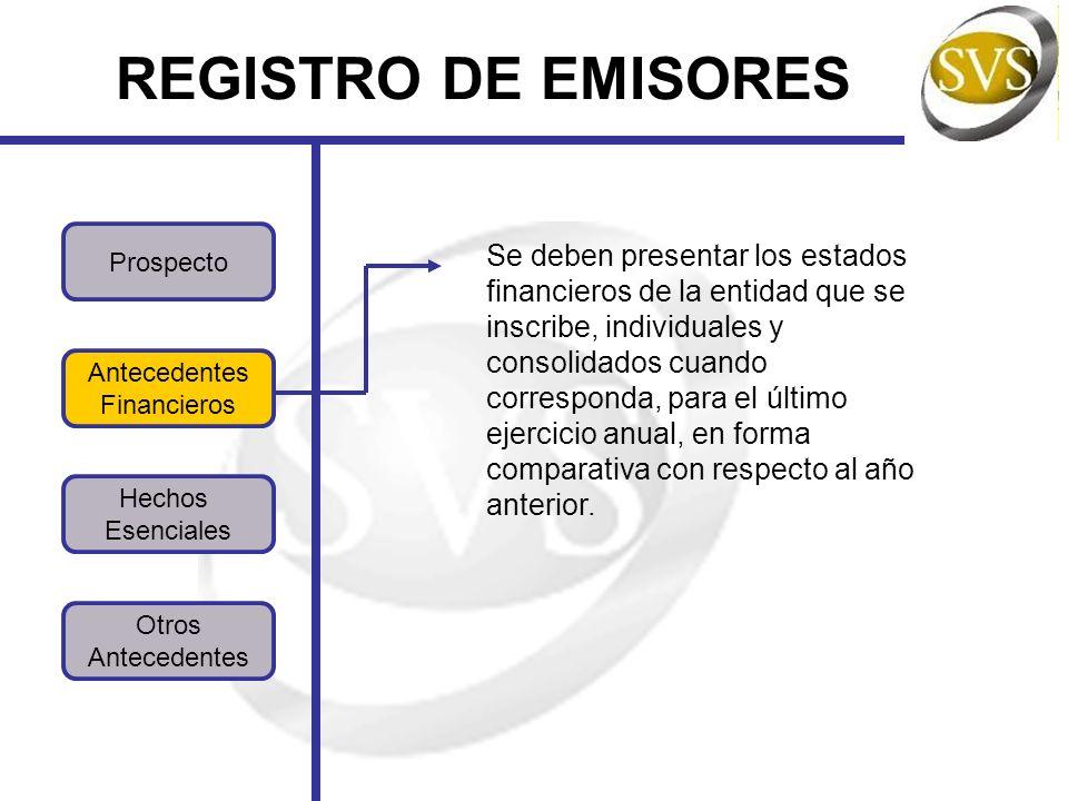 Bonos de Infraestructura Efectos de Comercio REGISTRO DE EMISIONES Bonos Securitizados Bonos Corporativos Escritura de Emisión Prospecto Antecedentes Adicionales