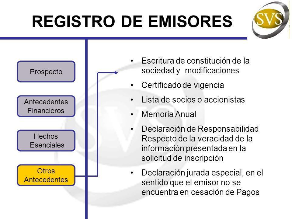 Bonos de Infraestructura Efectos de Comercio REGISTRO DE EMISIONES Bonos Securitizados Bonos Corporativos Para la inscripción de los bonos de infraestructura se usa la misma norma que para la inscripción de los bonos corporativos.