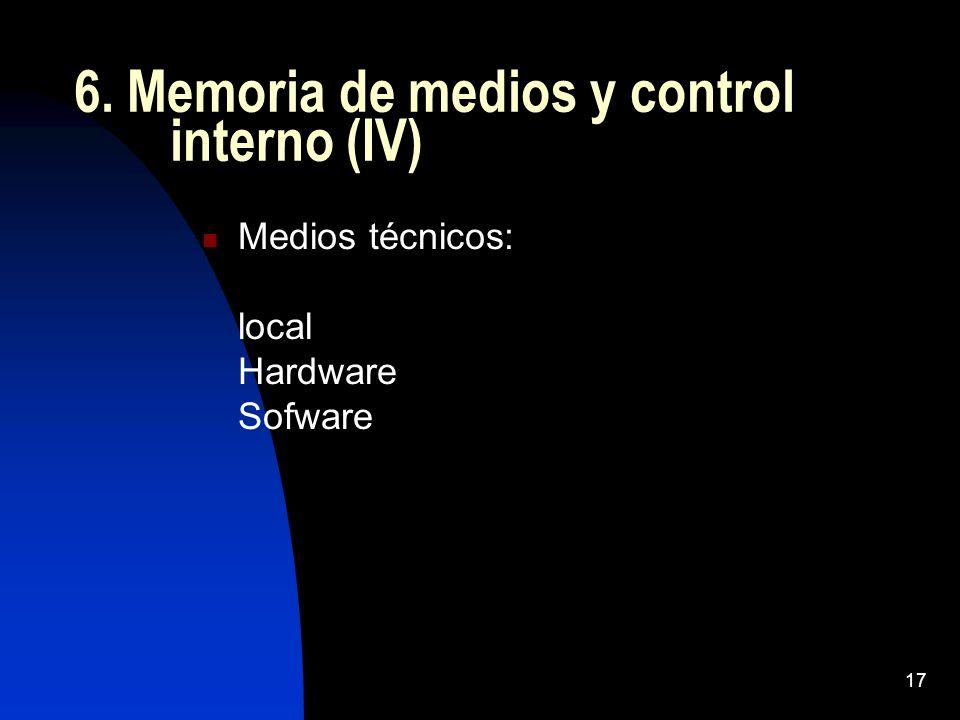 17 6. Memoria de medios y control interno (IV) Medios técnicos: local Hardware Sofware