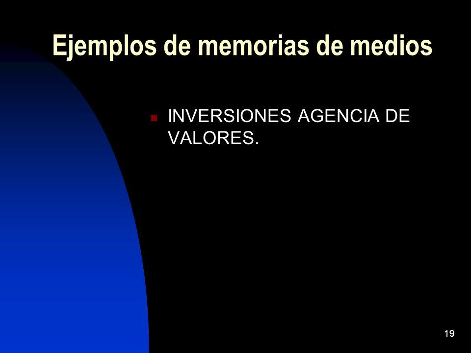 19 Ejemplos de memorias de medios INVERSIONES AGENCIA DE VALORES.
