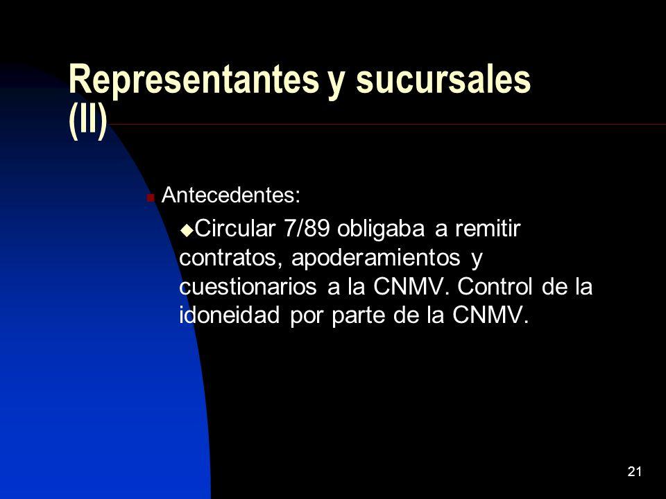 21 Representantes y sucursales (II) Antecedentes: Circular 7/89 obligaba a remitir contratos, apoderamientos y cuestionarios a la CNMV. Control de la
