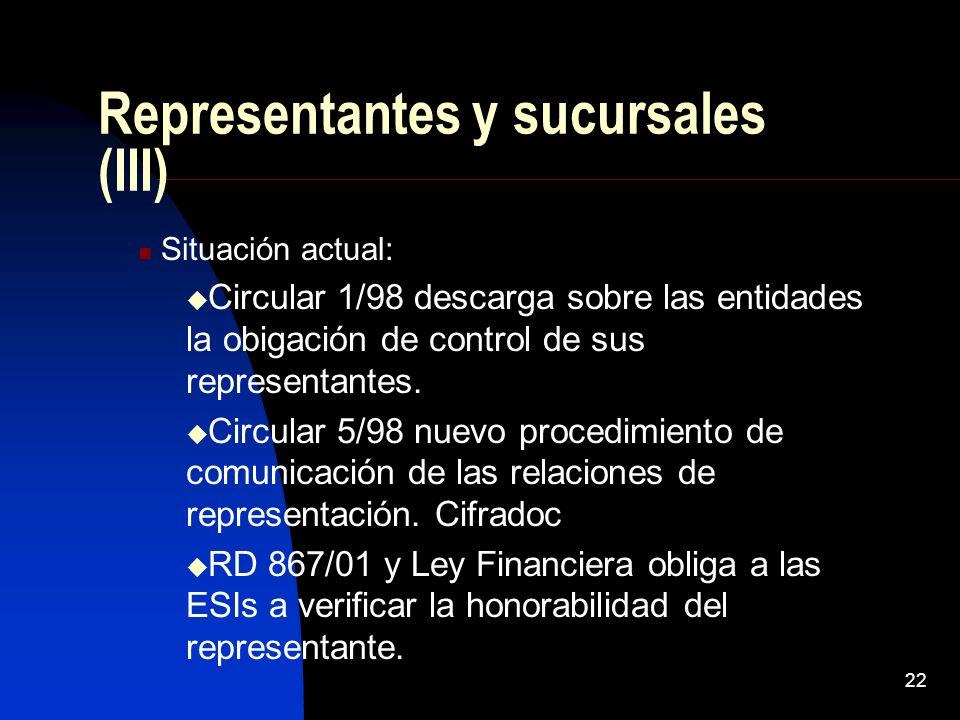 22 Representantes y sucursales (III) Situación actual: Circular 1/98 descarga sobre las entidades la obigación de control de sus representantes.