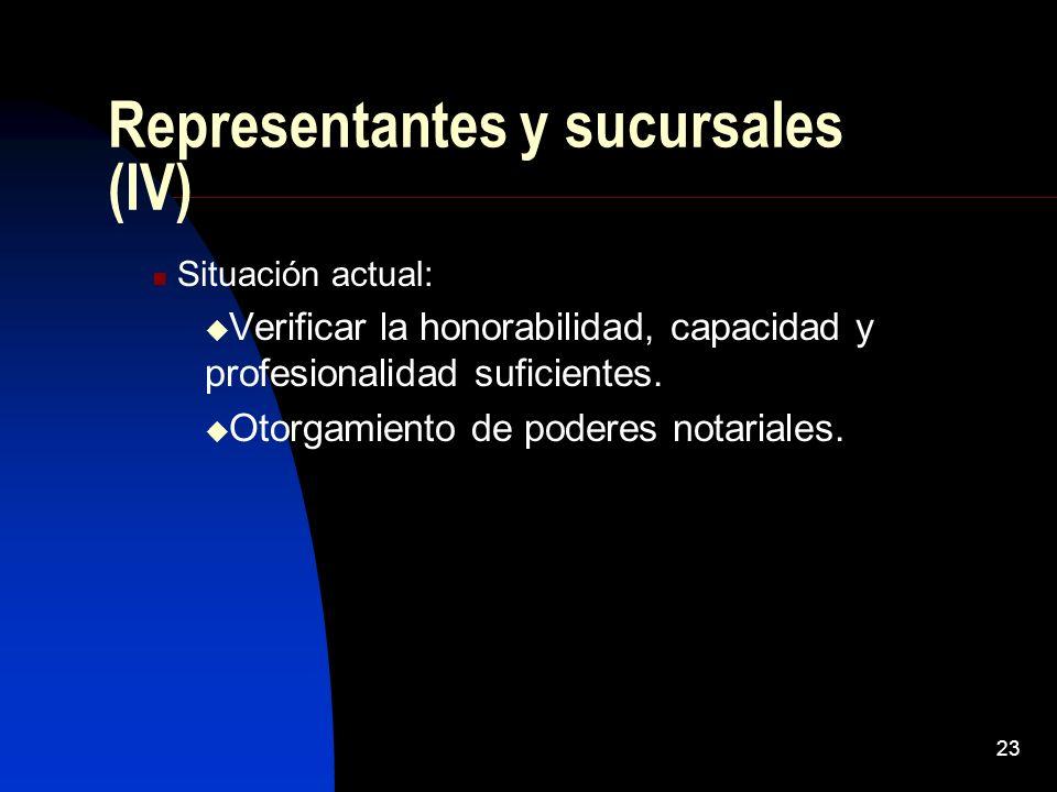 23 Representantes y sucursales (IV) Situación actual: Verificar la honorabilidad, capacidad y profesionalidad suficientes. Otorgamiento de poderes not