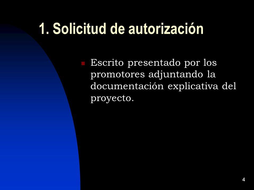 4 1. Solicitud de autorización Escrito presentado por los promotores adjuntando la documentación explicativa del proyecto.