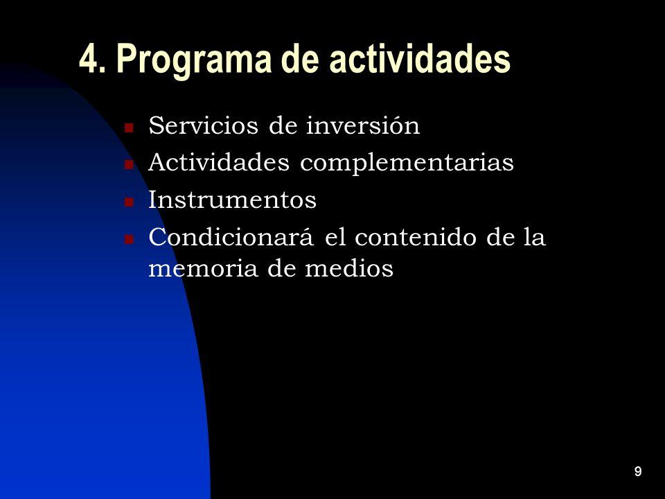9 4. Programa de actividades Servicios de inversión Actividades complementarias Instrumentos Condicionará el contenido de la memoria de medios