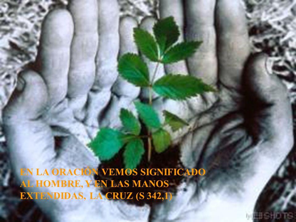 EN LA ORACIÓN VEMOS SIGNIFICADO AL HOMBRE, Y EN LAS MANOS EXTENDIDAS, LA CRUZ (S 342,1)