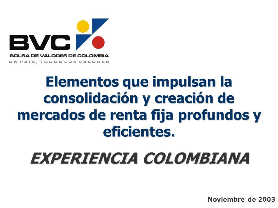 Noviembre de 2003 Elementos que impulsan la consolidación y creación de mercados de renta fija profundos y eficientes. EXPERIENCIA COLOMBIANA