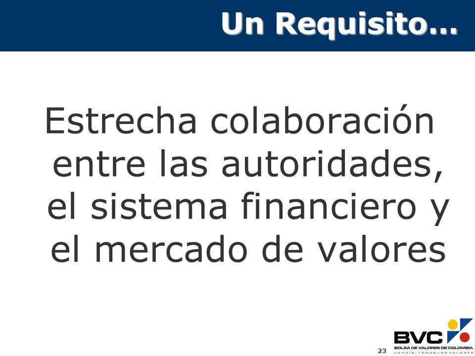 23 Un Requisito… Estrecha colaboración entre las autoridades, el sistema financiero y el mercado de valores