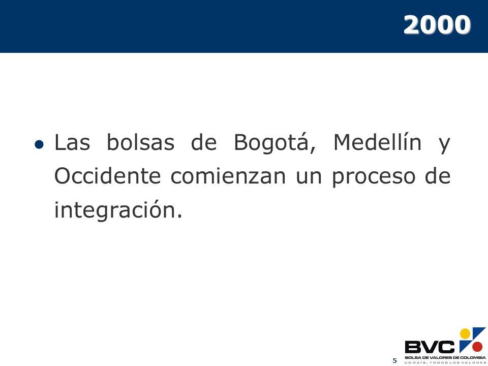 5 2000 Las bolsas de Bogotá, Medellín y Occidente comienzan un proceso de integración.