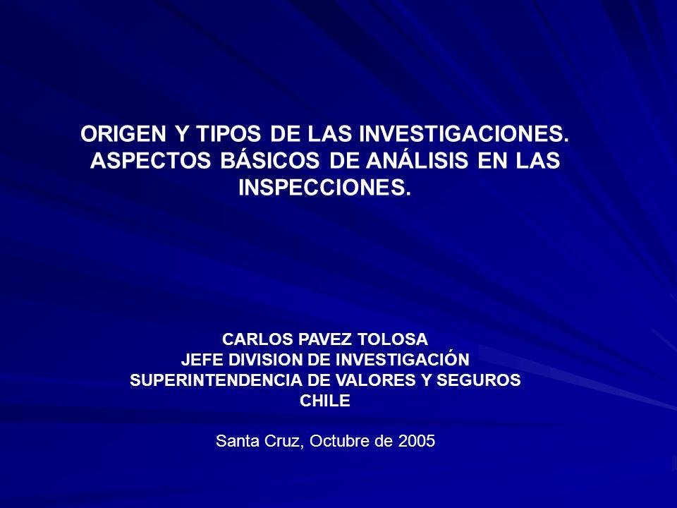 ORIGEN Y TIPOS DE LAS INVESTIGACIONES. ASPECTOS BÁSICOS DE ANÁLISIS EN LAS INSPECCIONES.