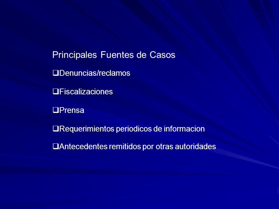 Principales Fuentes de Casos Denuncias/reclamos Fiscalizaciones Prensa Requerimientos periodicos de informacion Antecedentes remitidos por otras autoridades
