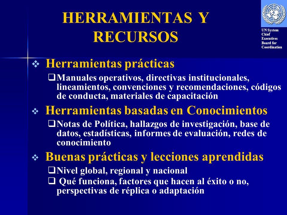 HERRAMIENTAS Y RECURSOS Herramientas prácticas Manuales operativos, directivas institucionales, lineamientos, convenciones y recomendaciones, códigos de conducta, materiales de capacitación Herramientas basadas en Conocimientos Notas de Política, hallazgos de investigación, base de datos, estadísticas, informes de evaluación, redes de conocimiento Buenas prácticas y lecciones aprendidas Nivel global, regional y nacional Qué funciona, factores que hacen al éxito o no, perspectivas de réplica o adaptación UN System Chief Executives Board for Coordination