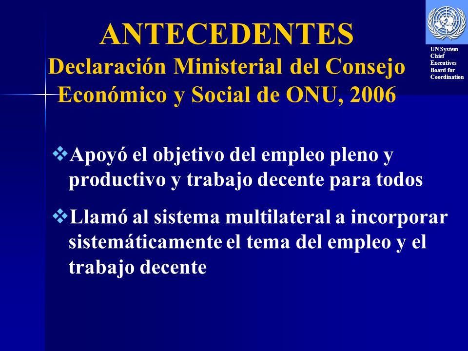 ANTECEDENTES Declaración Ministerial del Consejo Económico y Social de ONU, 2006 Apoyó el objetivo del empleo pleno y productivo y trabajo decente para todos Llamó al sistema multilateral a incorporar sistemáticamente el tema del empleo y el trabajo decente UN System Chief Executives Board for Coordination