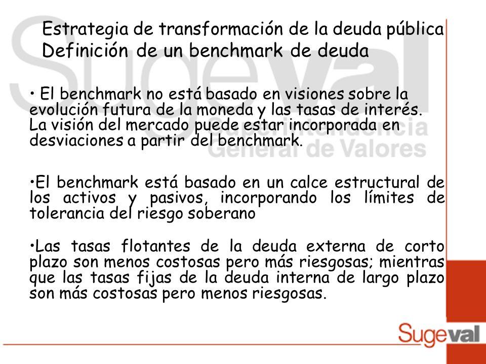 Estrategia de transformación de la deuda pública Definición de un benchmark de deuda El benchmark no está basado en visiones sobre la evolución futura de la moneda y las tasas de interés.