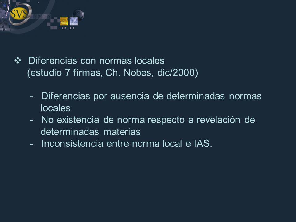 Diferencias con normas locales (estudio 7 firmas, Ch. Nobes, dic/2000) - Diferencias por ausencia de determinadas normas locales - No existencia de no