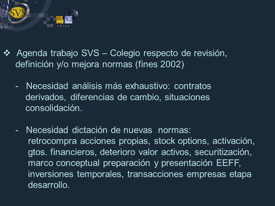 Agenda trabajo SVS – Colegio respecto de revisión, definición y/o mejora normas (fines 2002) - Necesidad análisis más exhaustivo: contratos derivados,