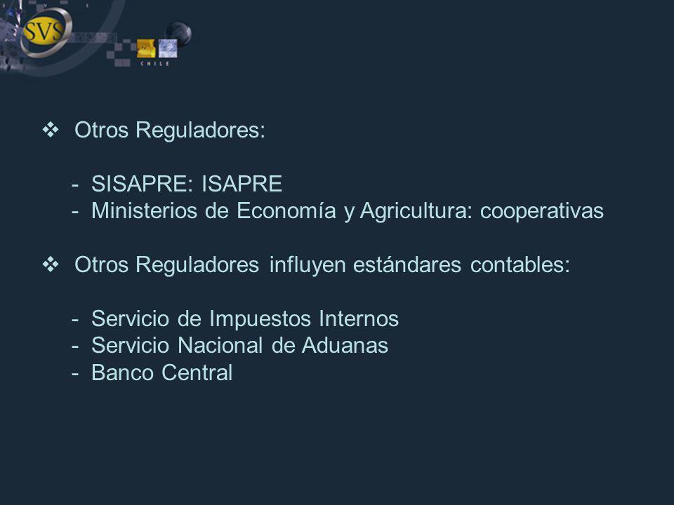Otros Reguladores: - SISAPRE: ISAPRE - Ministerios de Economía y Agricultura: cooperativas Otros Reguladores influyen estándares contables: - Servicio