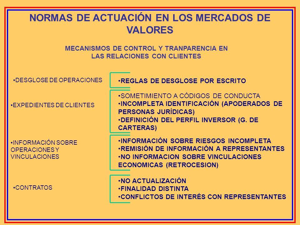 NORMAS DE ACTUACIÓN EN LOS MERCADOS DE VALORES MECANISMOS DE CONTROL Y TRANPARENCIA EN LAS RELACIONES CON CLIENTES INEXISTENCIA DE MEDIOS ADECUADOS RE