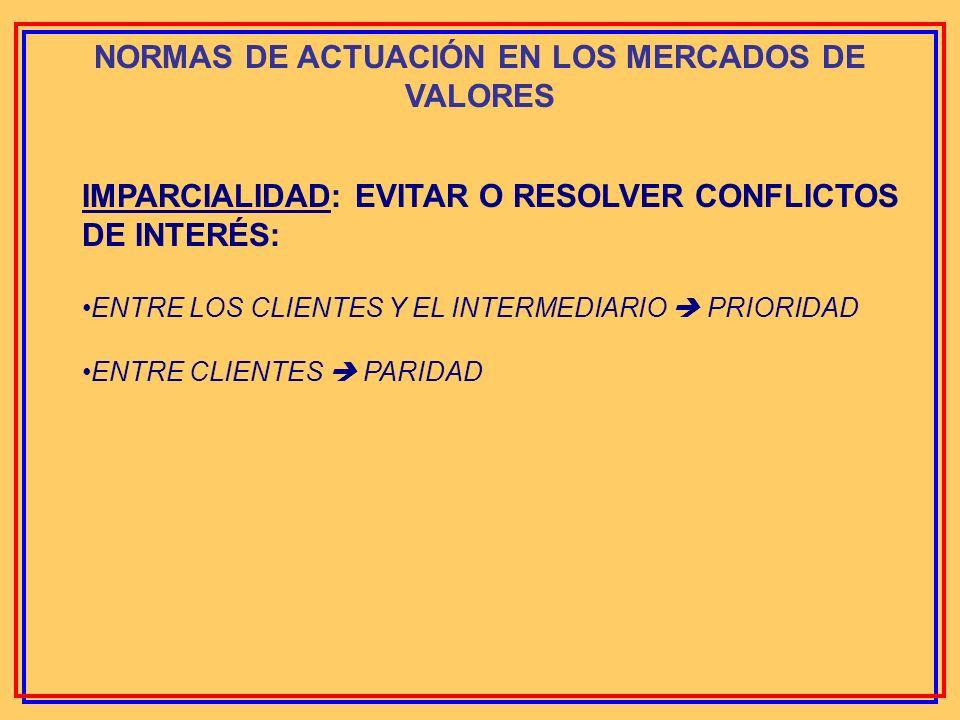NORMAS DE ACTUACIÓN EN LOS MERCADOS DE VALORES PRINCIPALES NORMAS DE CONDUCTA: 1- TRANSPARENCIA EN LOS MERCADOS DE VALORES 2- IMPARCIALIDAD 3- CUIDADO