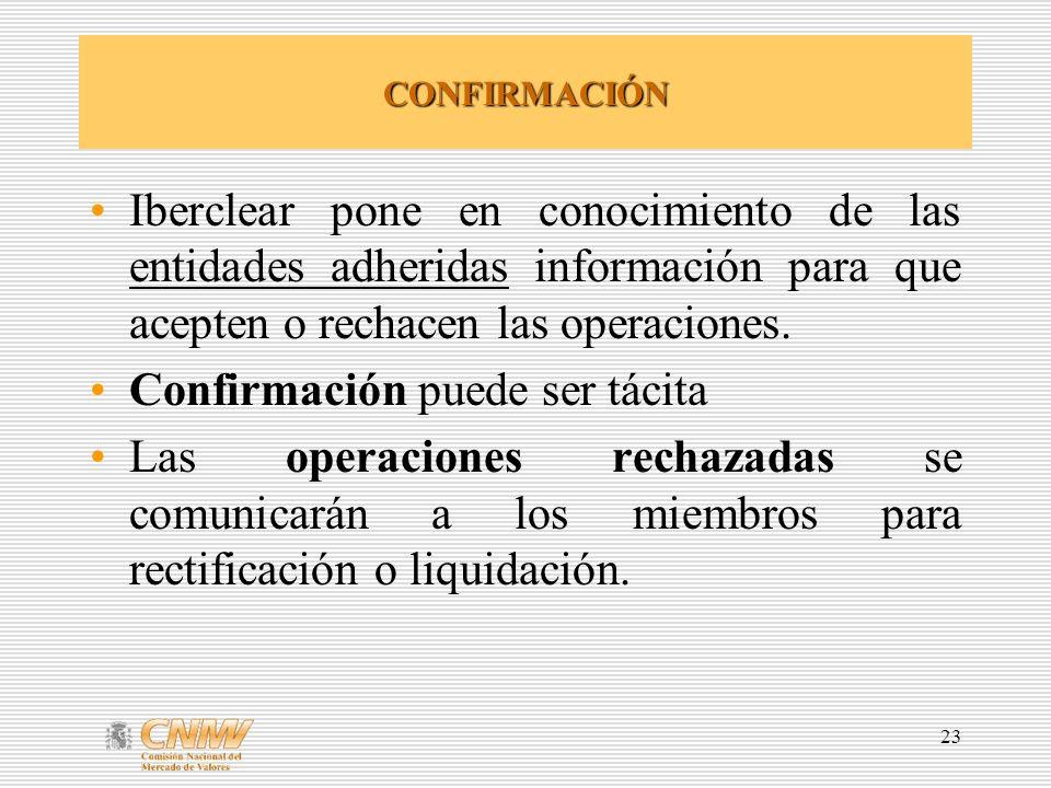 23 CONFIRMACIÓN Iberclear pone en conocimiento de las entidades adheridas información para que acepten o rechacen las operaciones. Confirmación puede