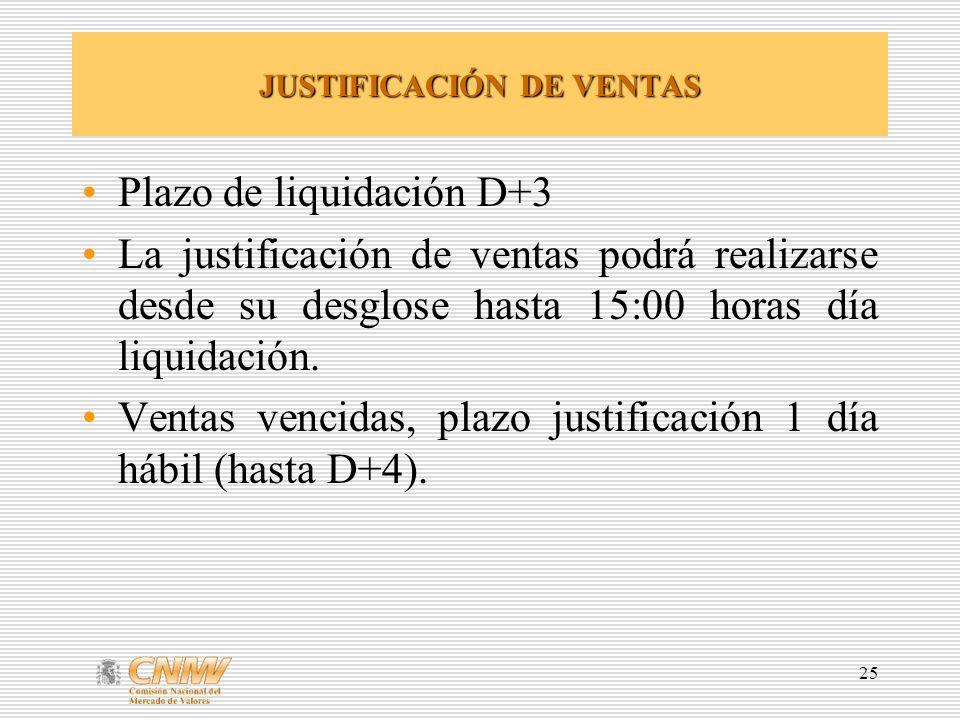 25 JUSTIFICACIÓN DE VENTAS Plazo de liquidación D+3 La justificación de ventas podrá realizarse desde su desglose hasta 15:00 horas día liquidación. V