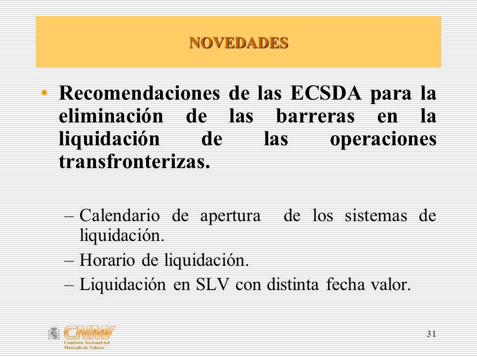 31 NOVEDADES Recomendaciones de las ECSDA para la eliminación de las barreras en la liquidación de las operaciones transfronterizas. –Calendario de ap