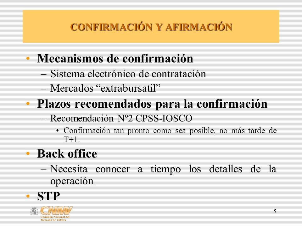 5 CONFIRMACIÓN Y AFIRMACIÓN Mecanismos de confirmación –Sistema electrónico de contratación –Mercados extrabursatil Plazos recomendados para la confir