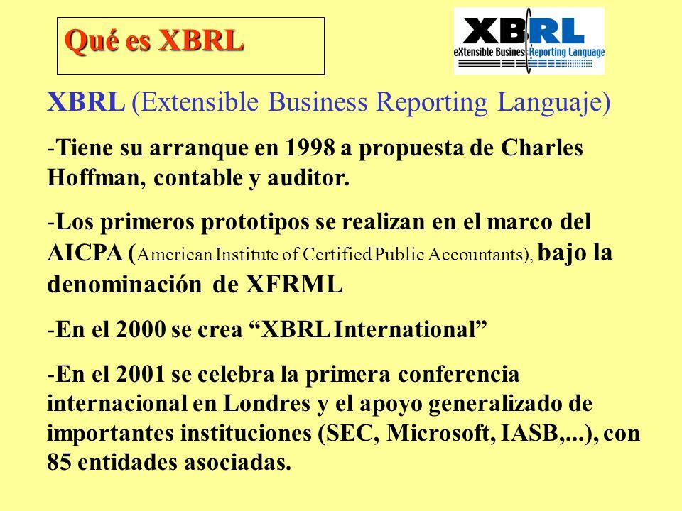 XBRL (Extensible Business Reporting Languaje) -Tiene su arranque en 1998 a propuesta de Charles Hoffman, contable y auditor. -Los primeros prototipos