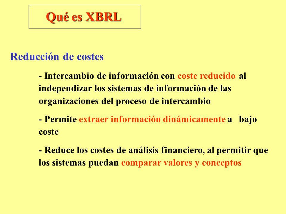 Qué es XBRL Reducción de costes - Intercambio de información con coste reducido al independizar los sistemas de información de las organizaciones del