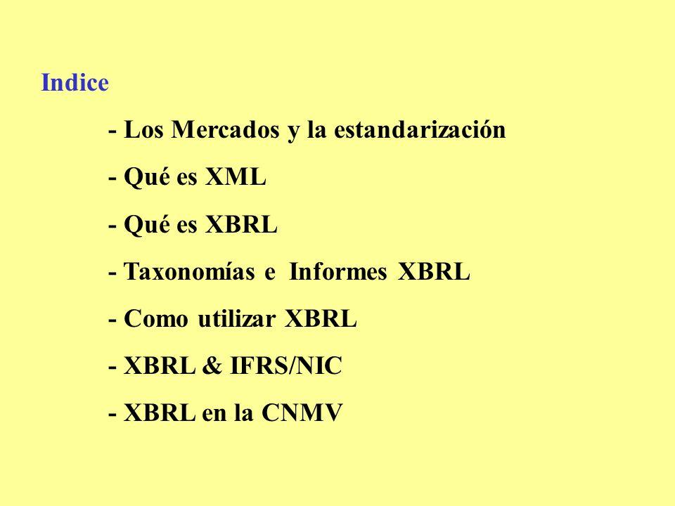 Indice - Los Mercados y la estandarización - Qué es XML - Qué es XBRL - Taxonomías e Informes XBRL - Como utilizar XBRL - XBRL & IFRS/NIC - XBRL en la