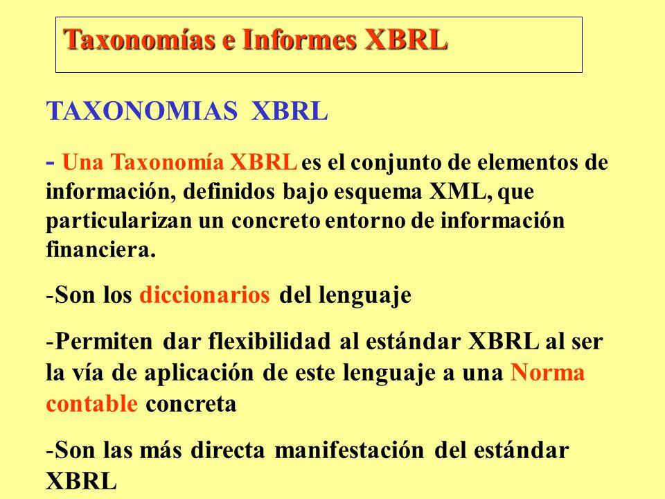 Taxonomías e Informes XBRL TAXONOMIAS XBRL - Una Taxonomía XBRL es el conjunto de elementos de información, definidos bajo esquema XML, que particular