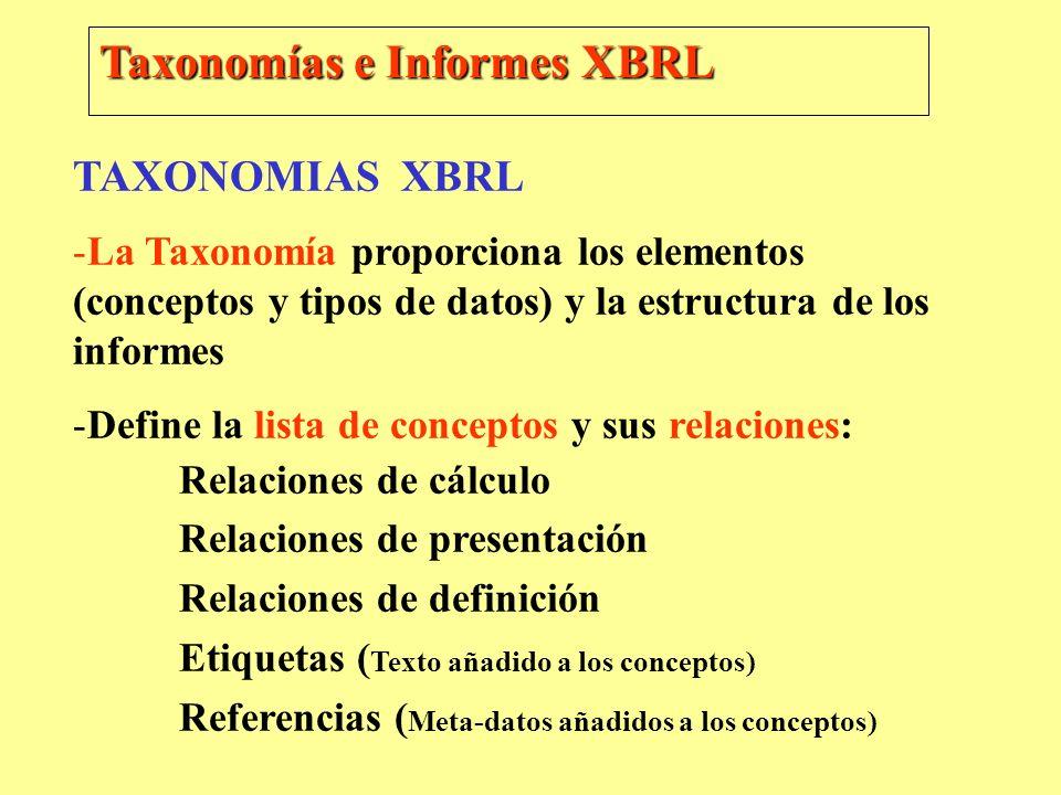 Taxonomías e Informes XBRL TAXONOMIAS XBRL -La Taxonomía proporciona los elementos (conceptos y tipos de datos) y la estructura de los informes -Defin