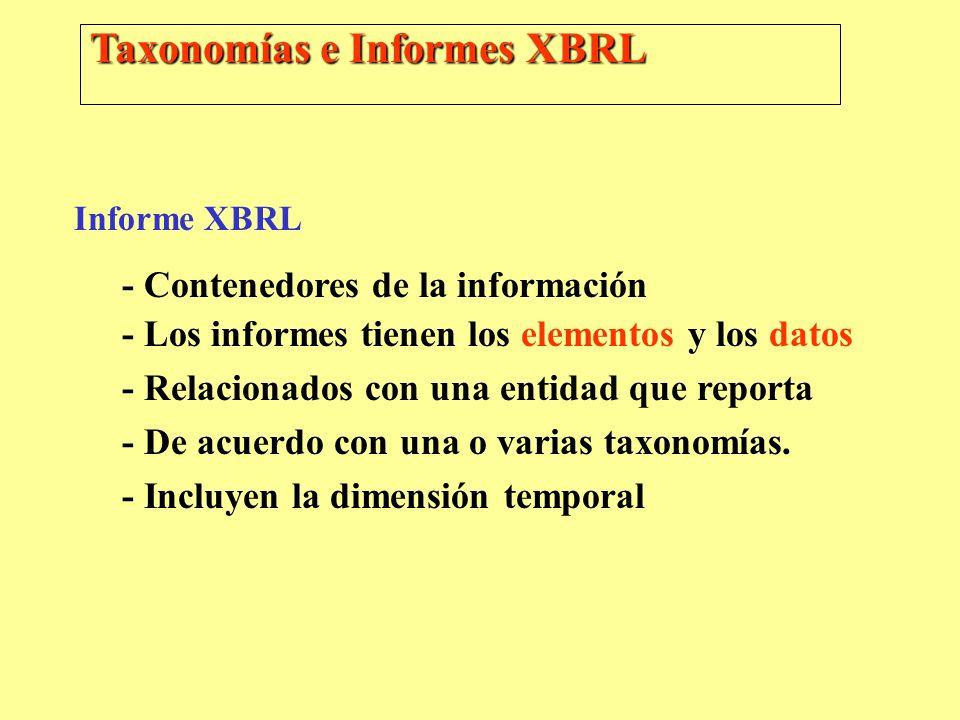 Taxonomías e Informes XBRL Informe XBRL - Contenedores de la información - Los informes tienen los elementos y los datos - Relacionados con una entida