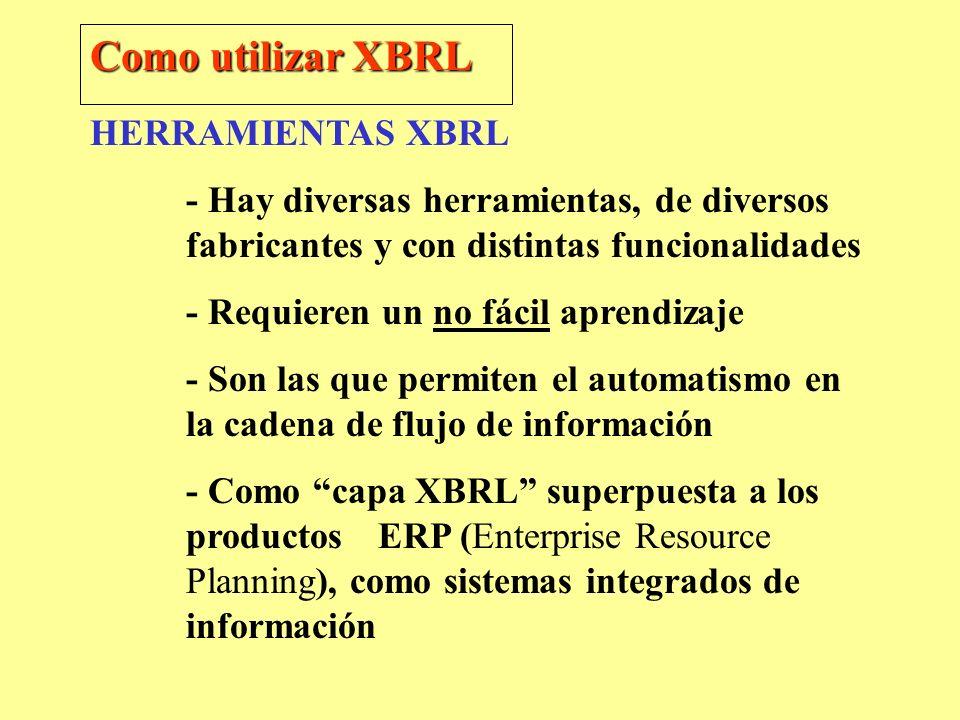 HERRAMIENTAS XBRL - Hay diversas herramientas, de diversos fabricantes y con distintas funcionalidades - Requieren un no fácil aprendizaje - Son las q
