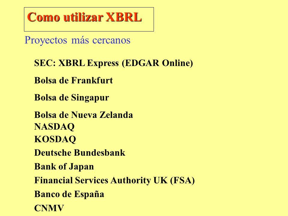 Como utilizar XBRL SEC: XBRL Express (EDGAR Online) Bolsa de Frankfurt Bolsa de Singapur Bolsa de Nueva Zelanda NASDAQ KOSDAQ Deutsche Bundesbank Bank